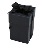 Rigid Set-up Box, Cube, 4-Tier, Petite, Window and Ribbon, Black, QTY/CASE-12