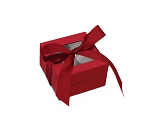 Rigid Set-up Box, Window Box with Ribbon, Square, 3 oz., Soft Touch Finish, Red, QTY/CASE-24