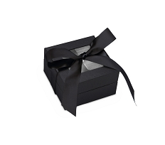 Rigid Set-up Box, Window Box with Ribbon and Riser, Square, 3 oz., Black, QTY/CASE-24