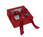 Rigid Set-up Box, Window Box with Ribbon, Square, 8 oz., Soft Touch Finish, Red, QTY/CASE-12
