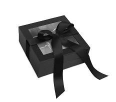 Rigid Set-up Box, Window Box with Ribbon, Square, 8 oz., Black, QTY/CASE-12