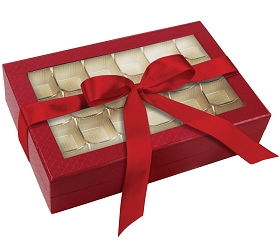 Rigid Set-up Box, Window Box with Ribbon and Riser, Rectangle, 16 oz., 5th Ave. Red, QTY/CASE-12