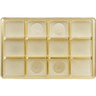 Tray, Rectangle, Gold, 16 oz., 12 Cavity, Square Cavities, QTY/CASE-50