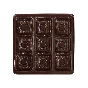Tray, Square, Brown, 8 oz., 9 Cavity, QTY/CASE-50