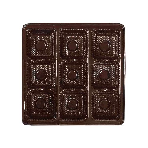 BY THE PIECE, Tray, Square, Brown, 8 oz., 9 Cavity, 5-1/2 x 5-1/2 x 1