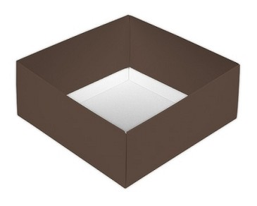 Folding Carton, This Top - That Bottom, Base, 8 oz., Square, Brown, Double-Layer, QTY/CASE-50