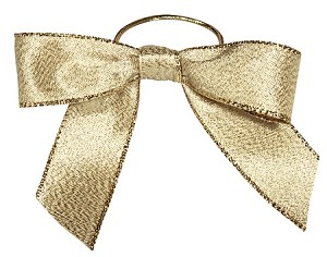 Pre-Tied Bows with Stretch Loops, Metallic Gold, 6 in., QTY/CASE-100