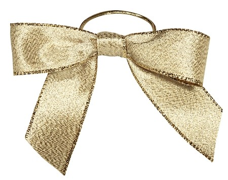 Pre-Tied Bows with Stretch Loops, Metallic Gold, 6