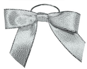 Pre-Tied Bows with Stretch Loops, Metallic Silver, 6 in., QTY/CASE-100