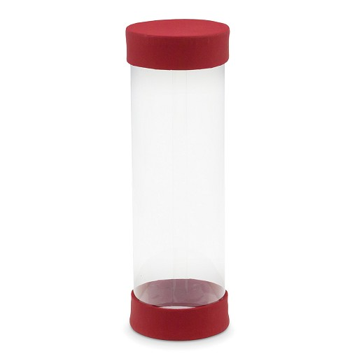 Clear Plastic Packaging, Cylinder, Red w/ Soft Touch Finish, 8 x 2-5/8