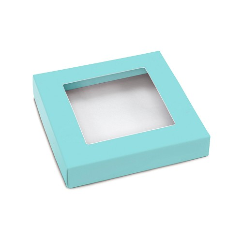 This Top - That Bottom, Window Lid, Square, Robin Egg Blue, 5-1/2 x 5-1/2 x 1