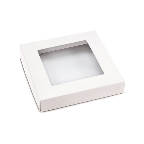 This Top - That Bottom, Window Lid, 8 oz, Square, White, 5-1/2 x 5-1/2 x 1