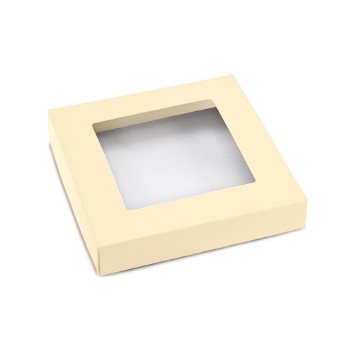 This Top - That Bottom, Window Lid, 8 oz, Square, Pearlescent, 5-1/2 x 5-1/2 x 1