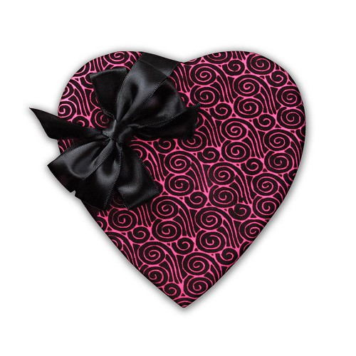 Heart Shaped Candy Box, Wind Swirl, Bow, Pink and Black, 8 oz., QTY/CASE-12