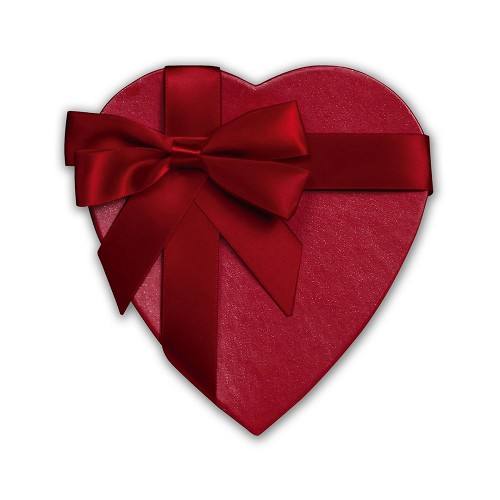Heart Shaped Candy Box, Cross My Heart with Bow and Sash, Red, 8 oz., QTY/CASE-12