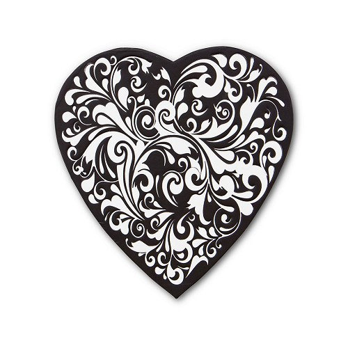 BY THE PIECE, Heart Shaped Candy Box, Swirl, Black, 8 oz.