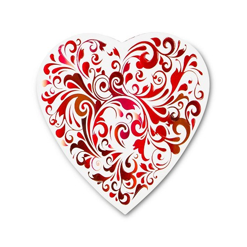 BY THE PIECE, Heart Shaped Candy Box, Red Swirl, 8 oz.