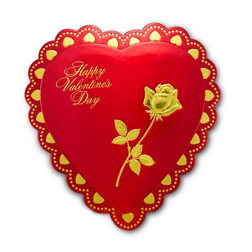 BY THE PIECE, Heart Shaped Candy Box, Foil Rose Hot-Stamped, Red, 8 oz.