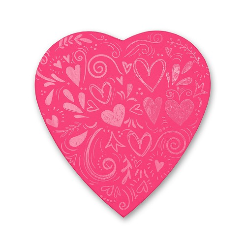 Heart Shaped Candy Box, Pink Doodles, 8 oz., QTY/CASE-12