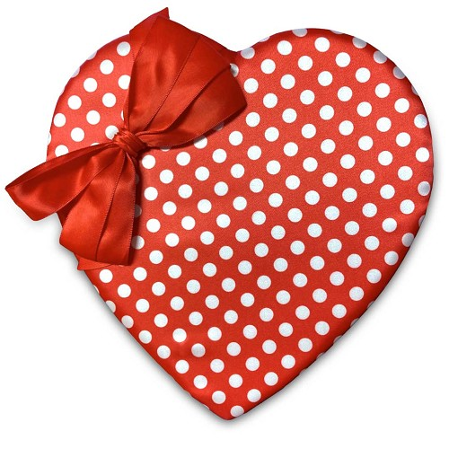Heart Shaped Candy Box, Red & White Polka Dot, 1 lb., QTY/CASE-6