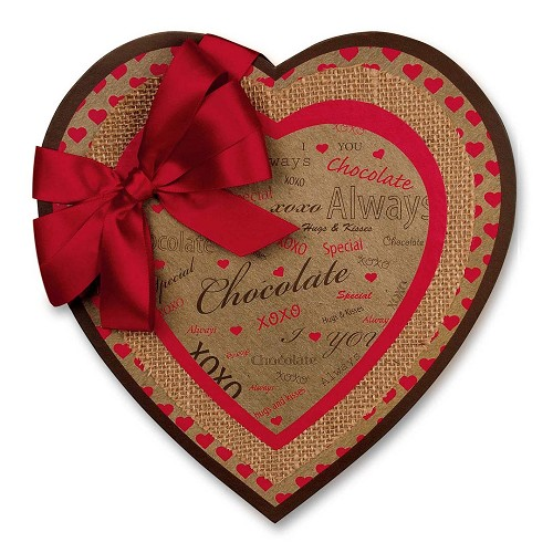 Heart Shaped Candy Box, Hugs and Kisses, Kraft, 1 lb., QTY/CASE-6