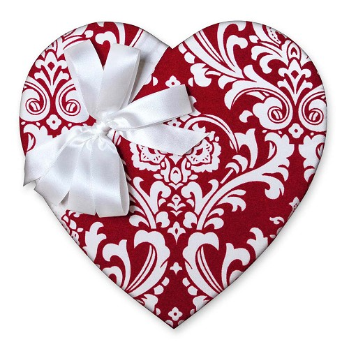 Heart Shaped Candy Box, Red Damask, 1 lb. , QTY/CASE-6