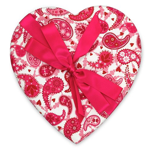 Heart Shaped Candy Box, Pink & White Paisley, Bow, 1 lb., QTY/CASE-6