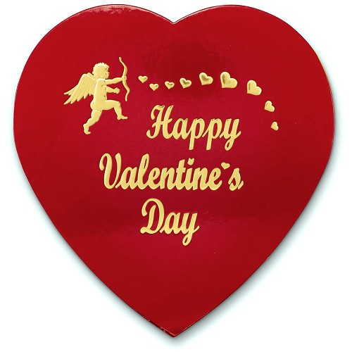 BY THE PIECE, Heart Shaped Candy Box, Foil Cupid Hot-Stamped, Red, 1 lb.
