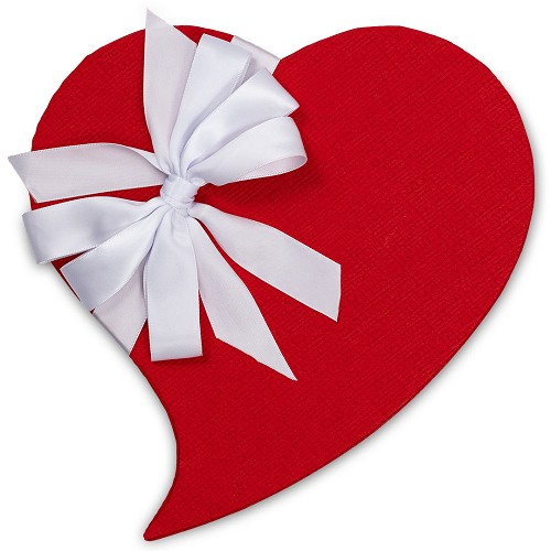 Heart Shaped Candy Box, Whimsical, White Bow, 1 lb., QTY/CASE-6