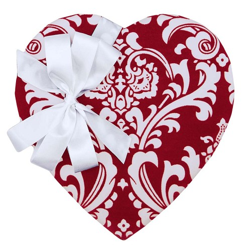 Heart Shaped Candy Box, Red Damask, 1-1/2 lb. , QTY/CASE-6