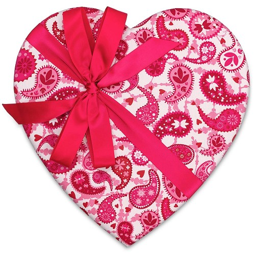 Heart Shaped Candy Box, Pink and White Paisley, Bow, 1-1/2 lb. , QTY/CASE-6