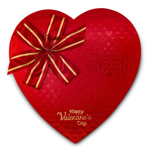 BY THE PIECE, Heart Shaped Candy Box, Red Foil Bow, 1-1/2 lb.