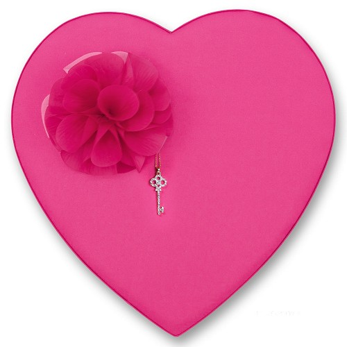 Heart Shaped Candy Box, Katie, Pink Satin with Corsage and Rhinestone Charm, 2 lb., QTY/CASE-4