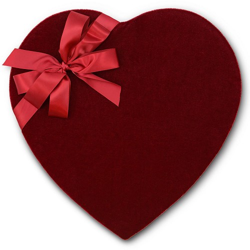 Heart Shaped Candy Box, Bow, Red Velvet, 2 lb., QTY/CASE-4
