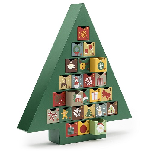 Rigid Set-up Box, Green Advent Calendar Tree Box, QTY/CASE-6