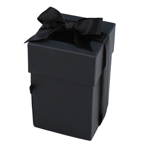 Rigid Set-up Box, Cube, Petite, 4-Tier, Window and Ribbon, Black, QTY/CASE-12