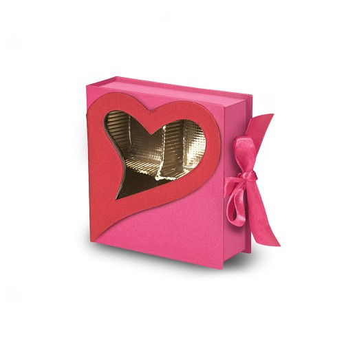 Rigid Set-up Box, Window Box, Coco Passion Open Book Box, Pink, 3 oz., QTY/CASE-24