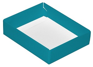 Folding Carton, CLOSEOUT, This Top - That Bottom, Base, 4 oz., Rectangle, Teal, Single-Layer, QTY/CASE-50