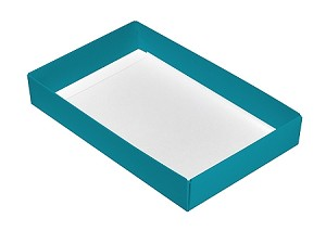 Folding Carton, CLOSEOUT, This Top - That Bottom, Base, 8 oz., Rectangle, Teal, Single-Layer, QTY/CASE-50