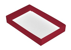 BY THE PIECE, Folding Carton, This Top - That Bottom Base, 8 oz., Rectangle, Red, Single-Layer