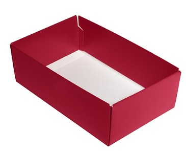 BY THE PIECE, Folding Carton,  This Top - That Bottom Base, 8 oz., Rectangle, Red, Double-Layer