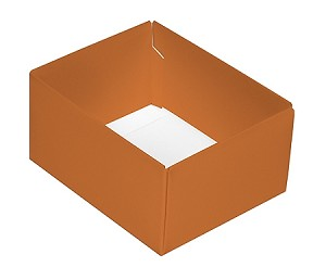 Folding Carton, This Top - That Bottom, Base, 4 oz., Rectangle, Orange, Double-Layer, QTY/CASE-50