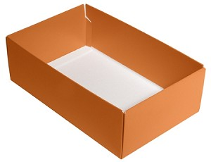 Folding Carton, CLOSEOUT, This Top - That Bottom, Base, 8 oz., Rectangle, Orange, Double-Layer, QTY/CASE-50