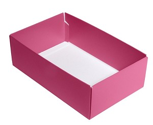 Folding Carton, This Top - That Bottom, Base, 8 oz., Rectangle, Pink, Double-Layer, QTY/CASE-50
