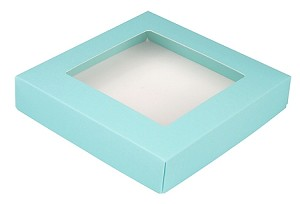 Folding Carton, This Top - That Bottom, Window Lid, 8 oz., Square, Robin Egg Blue, QTY/CASE-50