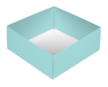 BY THE PIECE, Folding Carton,  This Top - That Bottom Base, 8 oz., Square, Robin Egg Blue, Double-Layer
