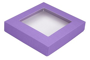 Folding Carton, This Top - That Bottom, Window Lid, 8 oz., Square, Lavender, QTY/CASE-50