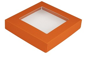 Folding Carton, This Top - That Bottom, Window Lid, 8 oz., Square, Orange, QTY/CASE-50