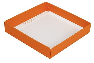 BY THE PIECE, Folding Carton, This Top - That Bottom Base, 8 oz., Square, Orange, Single-Layer