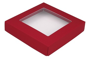 BY THE PIECE, Folding Carton,  This Top - That Bottom Window Lid, 8 oz., Square, Red